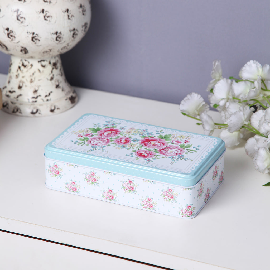 Rectangle White And Pink Floral Storage Metal Tin Box