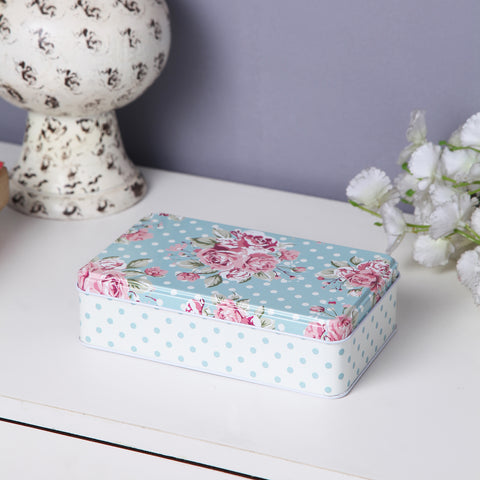 Polka Dot Floral Storage Metal Tin Box