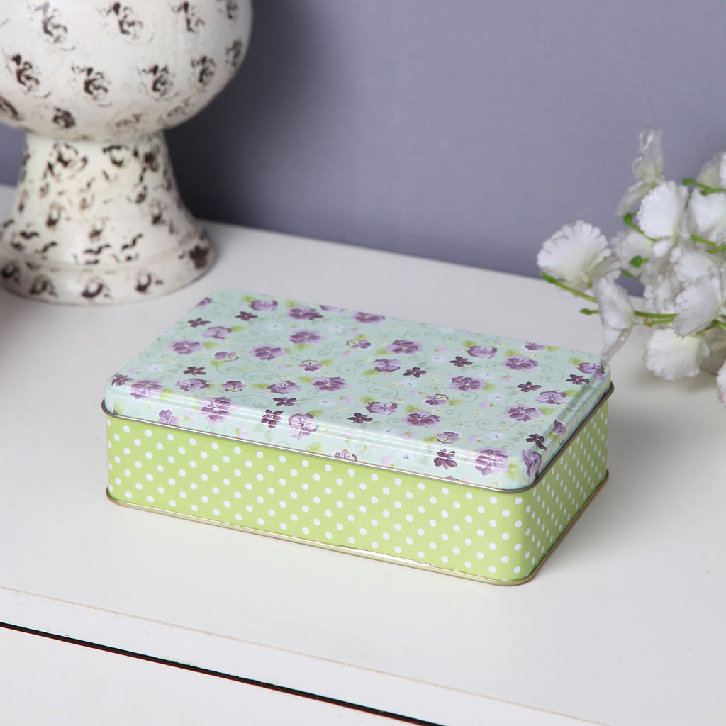 Rectangle Purple Floral Storage Metal Tin Box