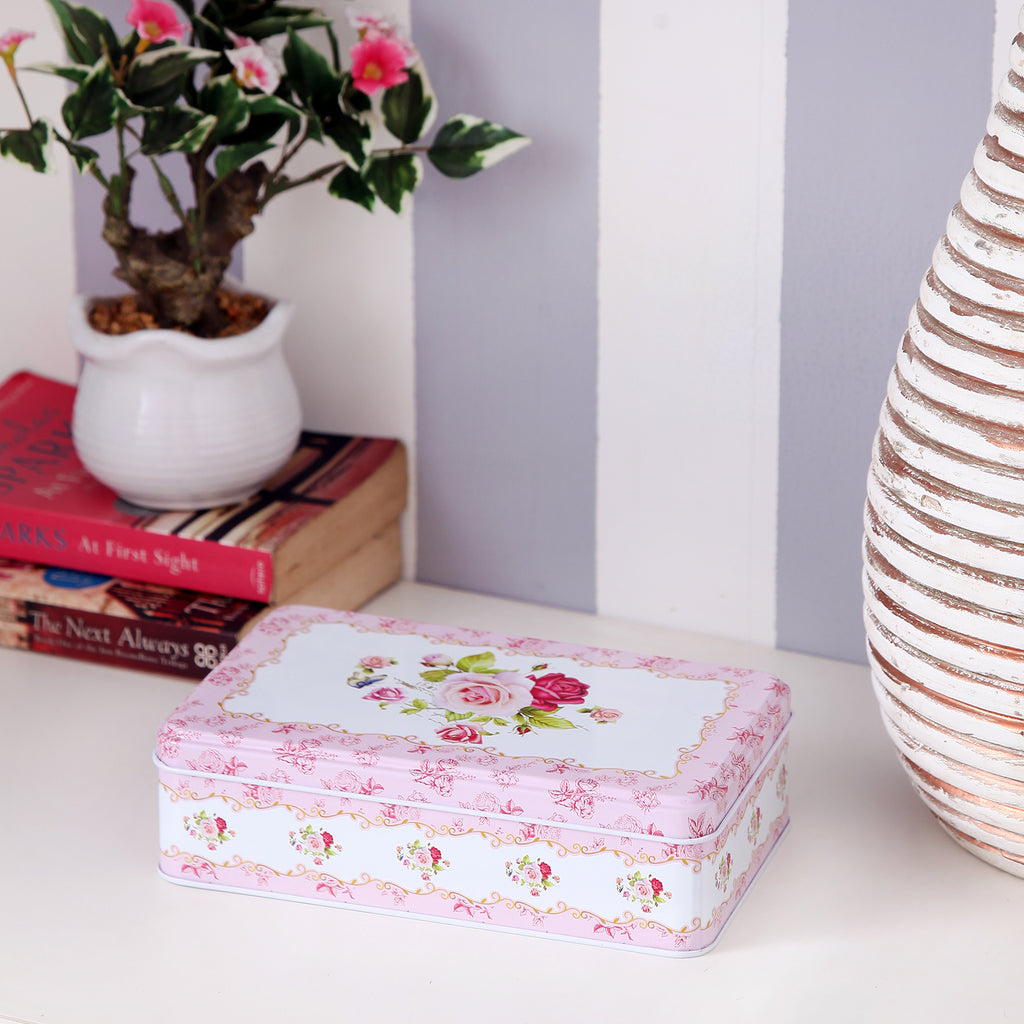 Rectangle Pink Border Floral Storage Metal Tin Box
