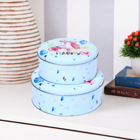 Round Happy Unicorn Storage metal tins (set of 2)