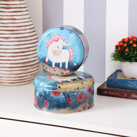 Round Dark Blue Unicorn metal tins (set of 2)