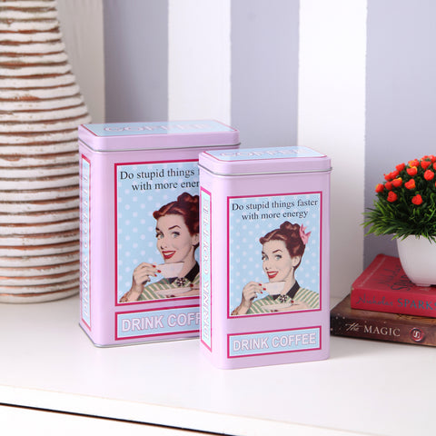 French Lady Retro Coffee Storage Metal Tins (Set Of 2)