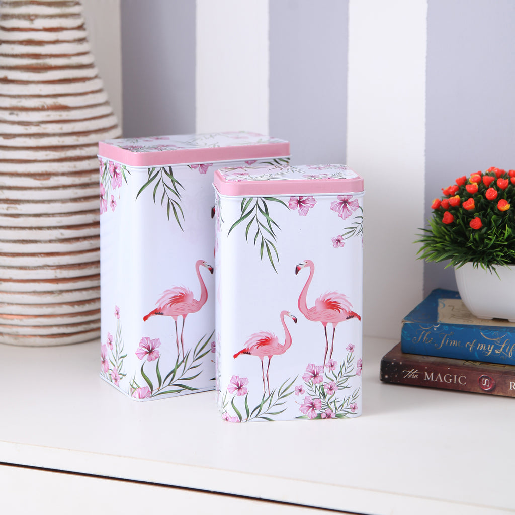 Tall White Flamingo Metal Tins (Set Of 2)