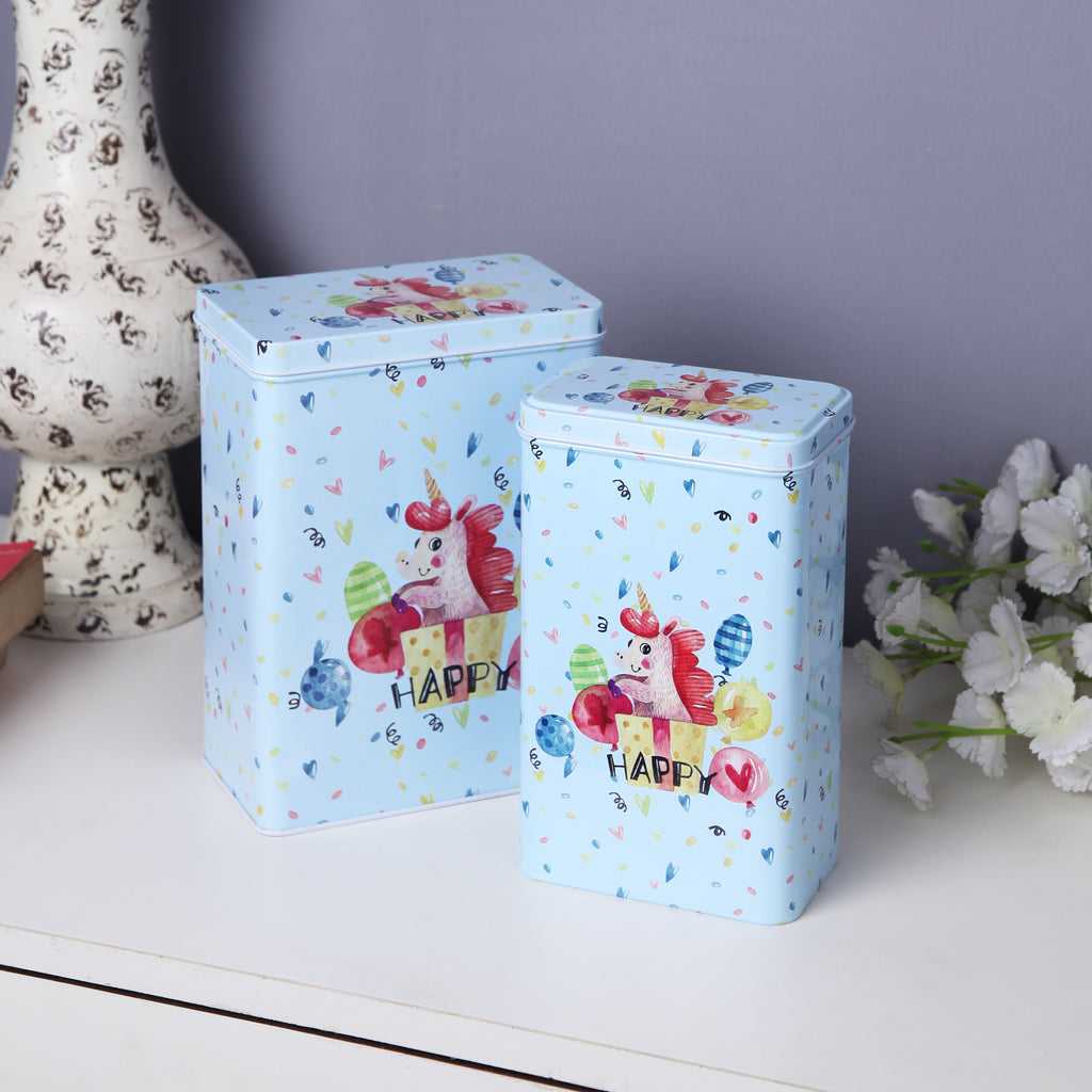 Tall Happy Unicorn Metal Tins (Set Of 2)