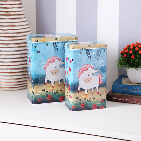 Tall Dark Blue Unicorn Metal Tins (Set Of 2)