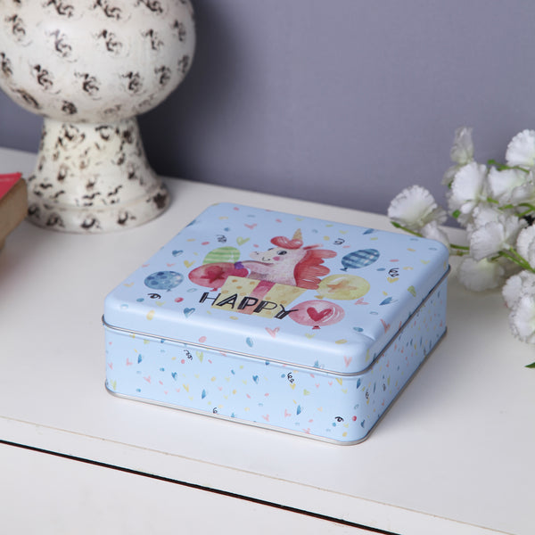 Square Happy Unicorn storage metal tin box