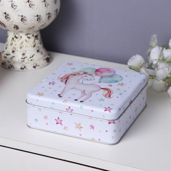 Square White Star Unicorn Storage Metal Tin Box