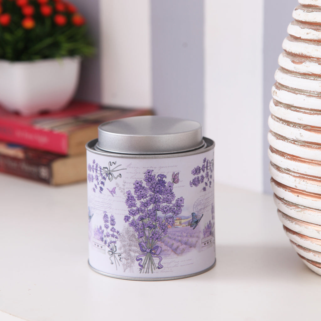 Round Lavender Tea/Coffee Small Metal Tin Canister