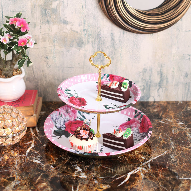 Rose Two Tier Cake Stand