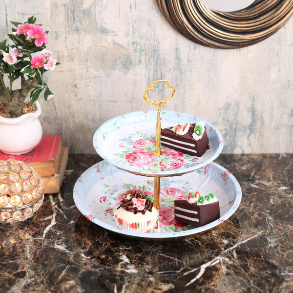 Floral Blue And White 2- Tier Cake Stand