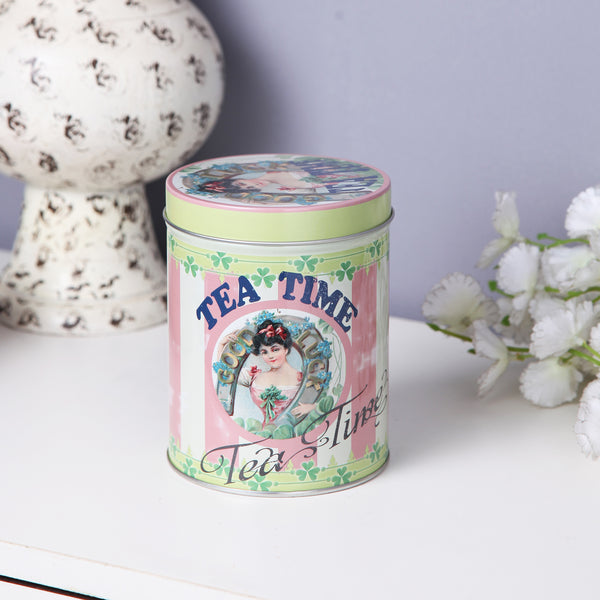 Vintage Tea Time metal tin canister