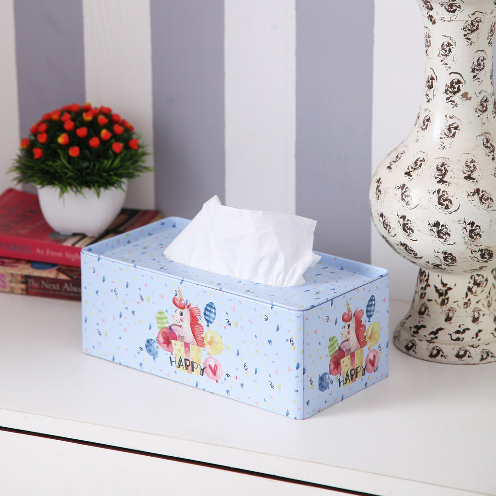 Rectangle Happy Unicorn Tissue Box