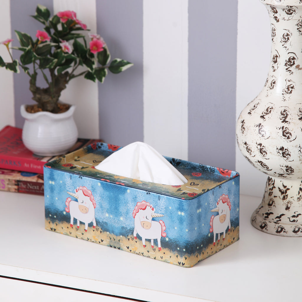 Rectangle Dark Blue Unicorn Tissue Box