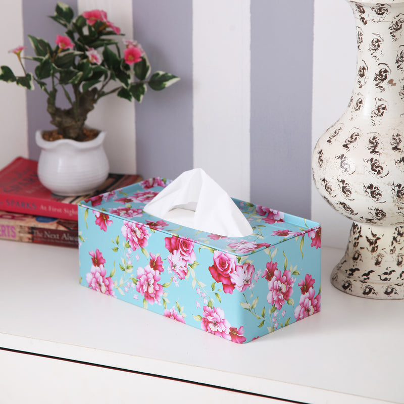 Rectangle Pink Flower Tissue Box