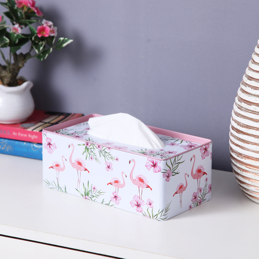 Rectangle White Flamingo Tissue Box