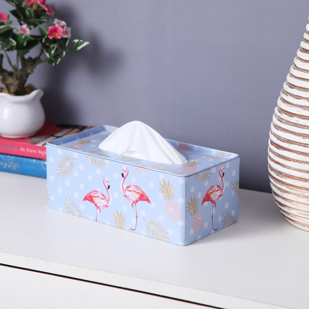 Rectangle Blue Polka Dot Flamingo Tissue Box