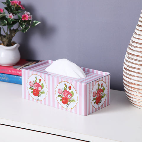 Rectangle Rose Pink Stripes Tissue Box