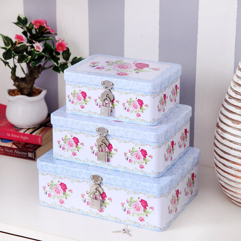 Blue Floral Metal Tins with Locks (3 pcs)