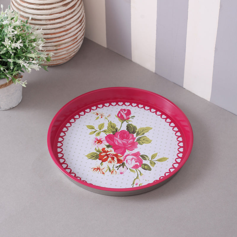 Large Pink Floral Metal Tin Tray