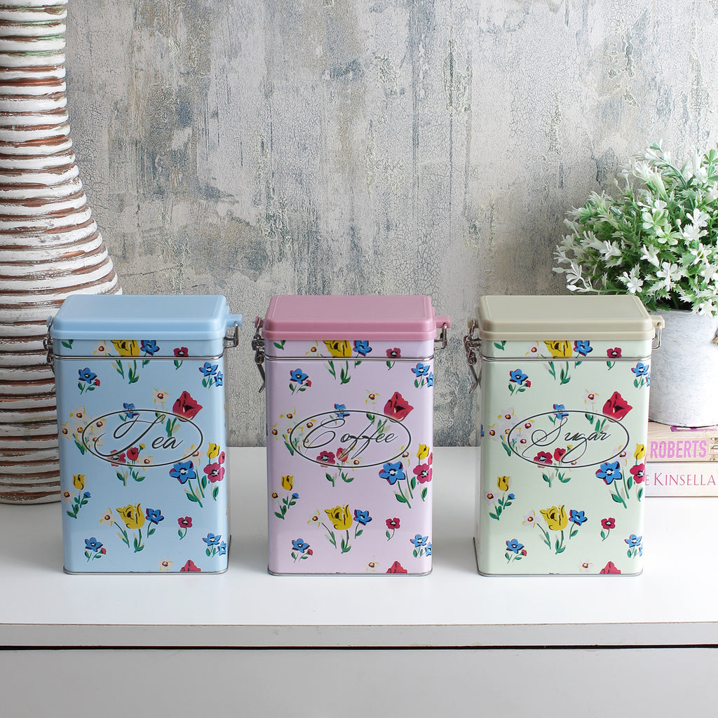 Floral Kitchen Storage Canisters With Hinged Lids (Set Of 3)