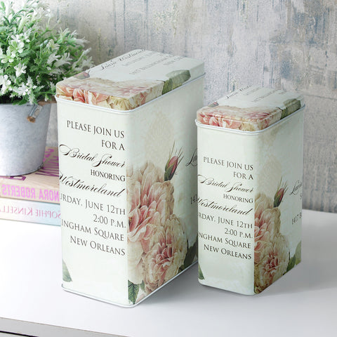 New Orleans Cream Floral Storage Tins  (Set Of 2)