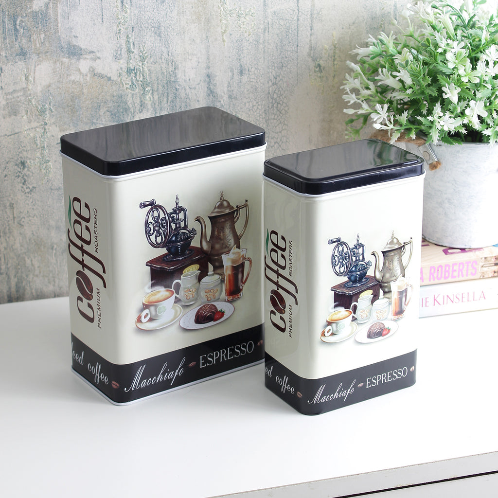 Vintage Espresso Coffee Storage Tins (Set Of 2)
