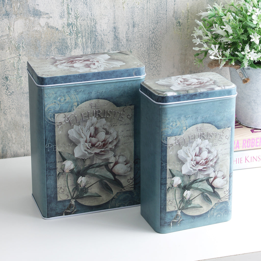 Vintage Le Fleuriste Storage Tins (Set Of 2)