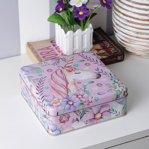 Square Unicorn And Ferns Storage Tin Box