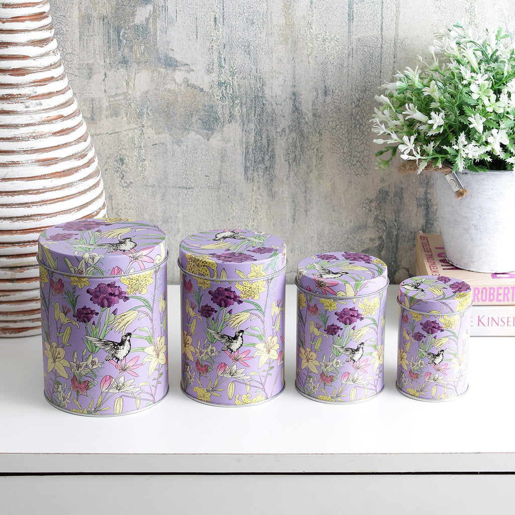 Long Floral Storage Tins- Purple (Set Of 4)