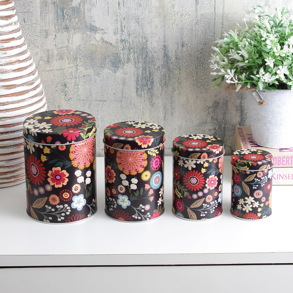 Long Floral Storage Tins - Black (Set Of 4)