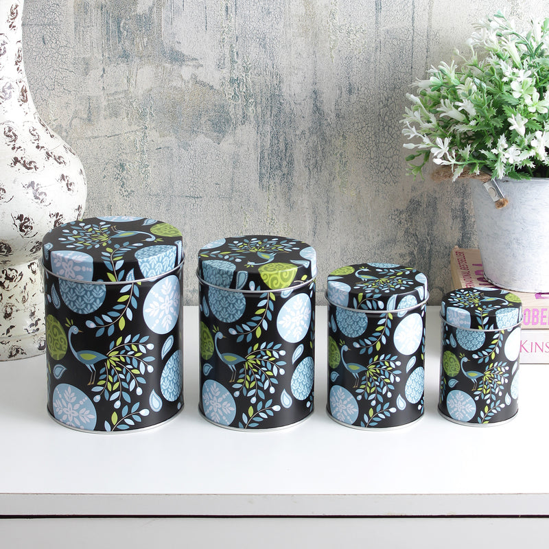 Long Abstract Storage Tins - Black (Set Of 4)