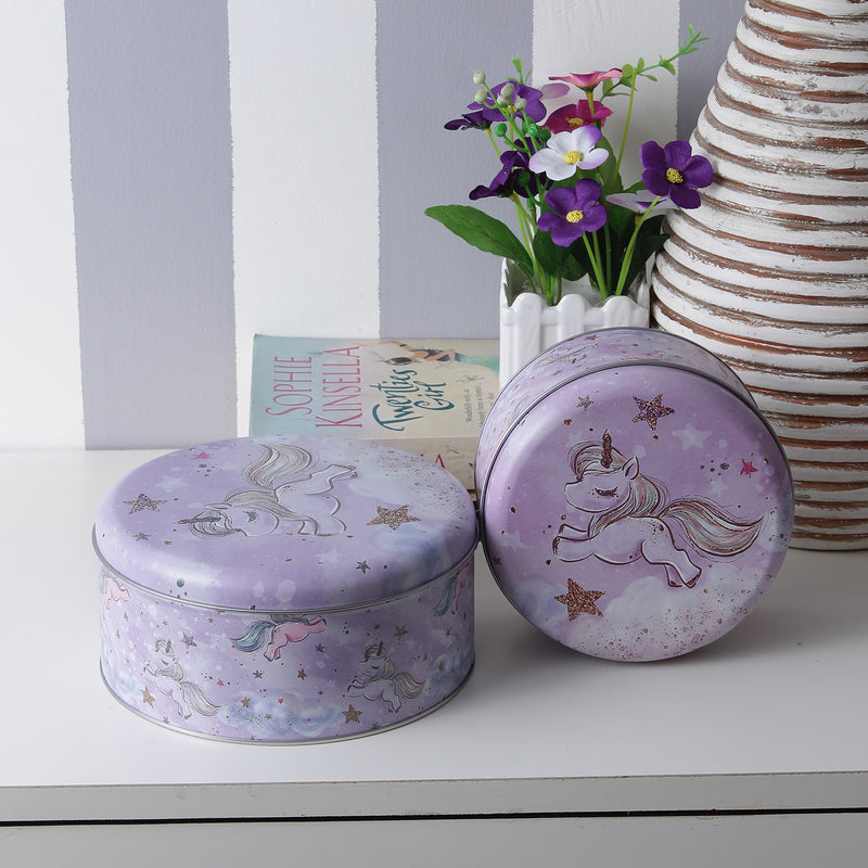 Round Flying Unicorn Metal Tins (Set Of 2)