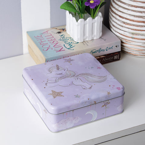 Square Flying Unicorn Metal Tin
