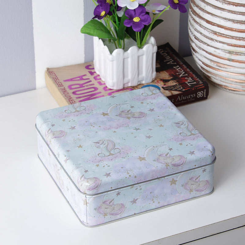 Square Sleeping Unicorn Metal Tin