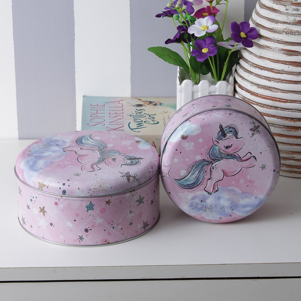 Round Starry Unicorn Storage Tins - Pink (Set Of 2)
