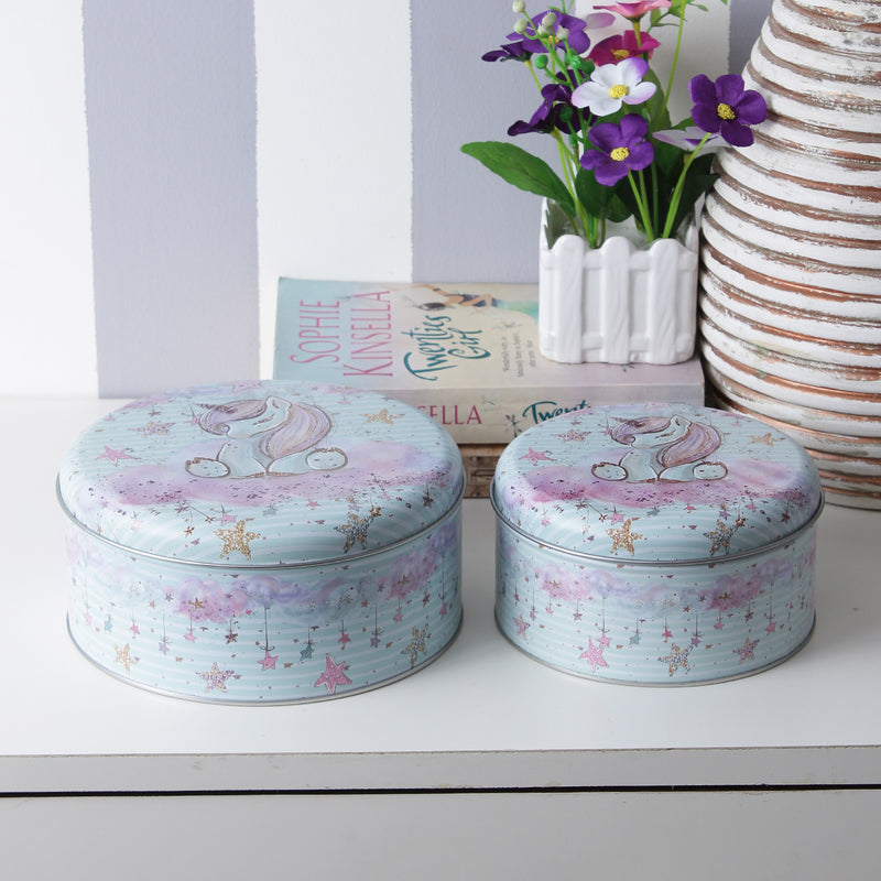 Round Starry Unicorn Storage Tins - Blue (Set Of 2)