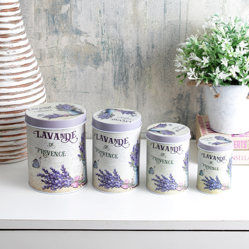 Lavande De Province Storage Tins (Set Of 4)