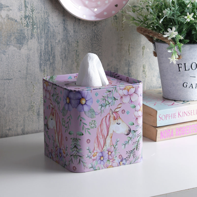 Square Unicorn And Ferns Tissue Box