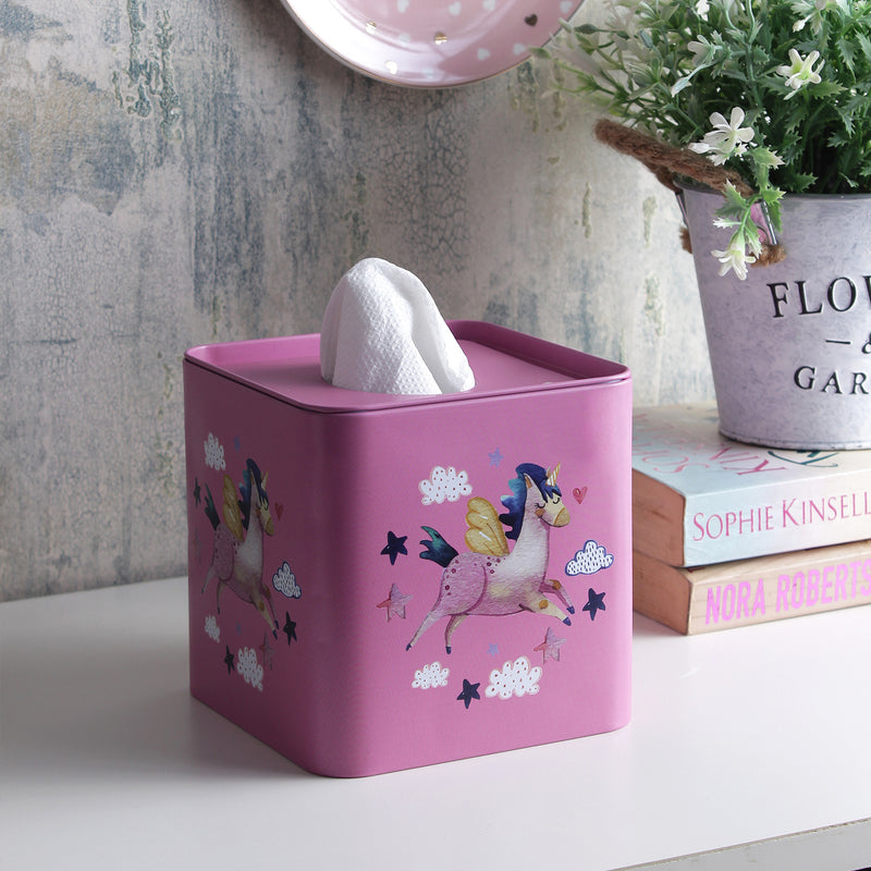 Square Flying Unicorn Tissue Box - Pink