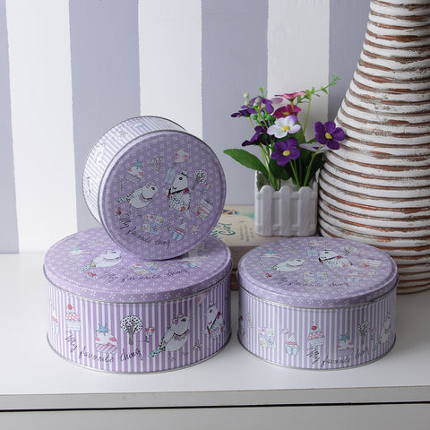 Round Purple Stripes Hen Storage Tins (Set Of 3)