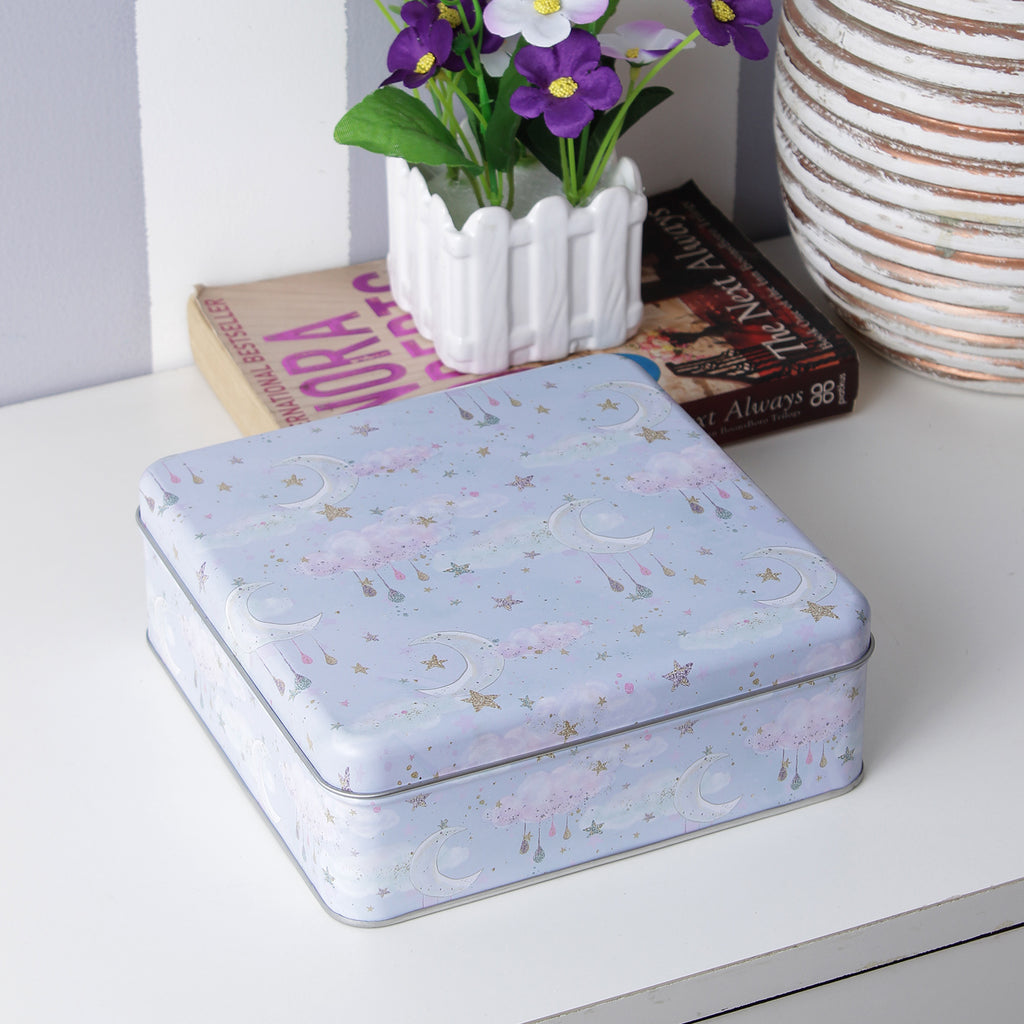 Square Stars And Moon Storage Tin Box - Blue