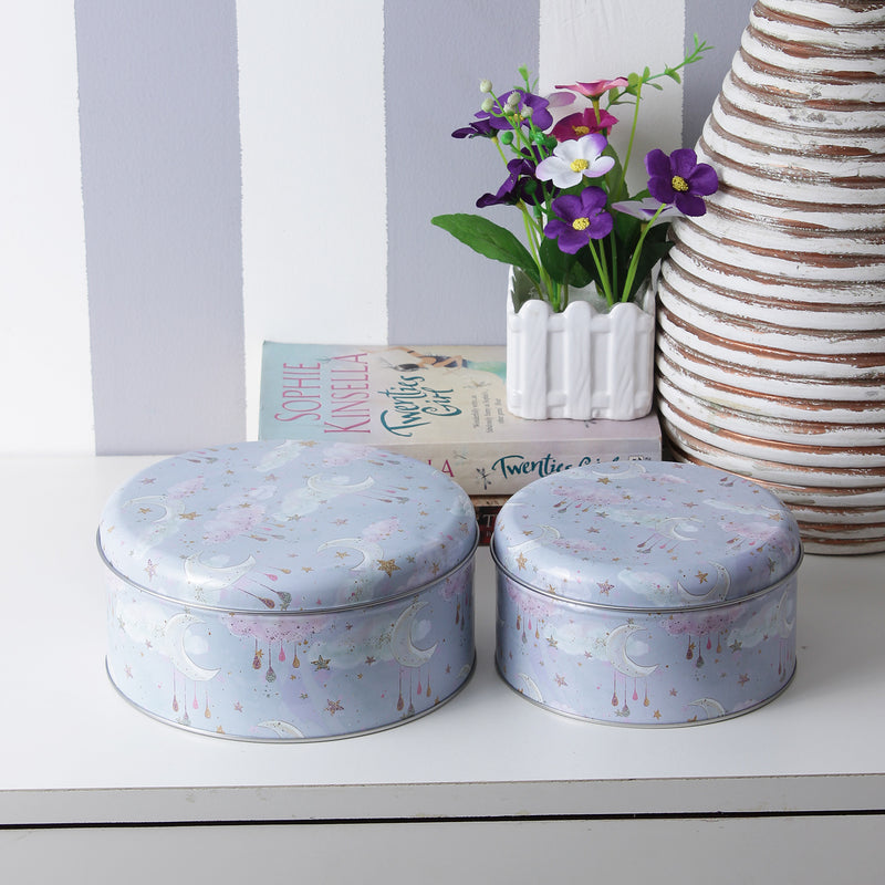 Round Stars And Moon Storage Tins- Blue (Set Of 2)