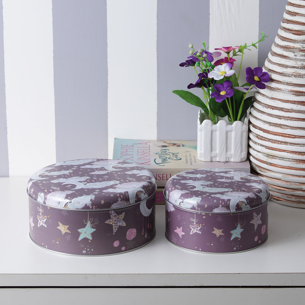 Round Stars And Moon Storage Tins- Brown (Set Of 2)