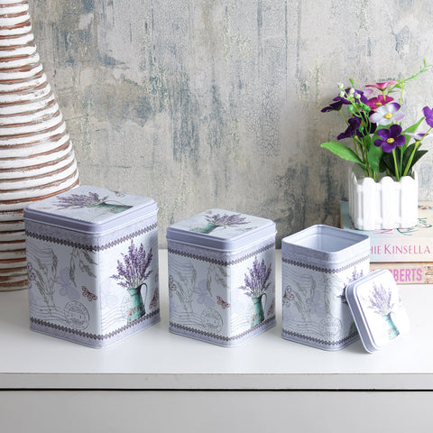 Square Light Lavender Storage Tins ( Set Of 3)