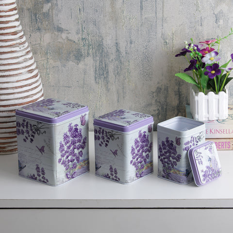 Square Dark Lavender Storage Tins (Set Of 3)