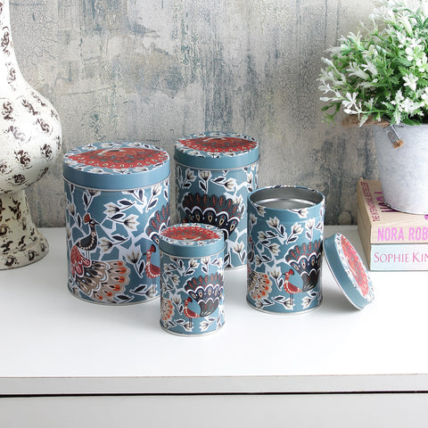 Long Peacock Storage Tins - Blue (Set Of 4)