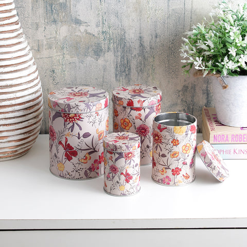 Long Red And Yellow Floral Storage Tins (Set Of 4)