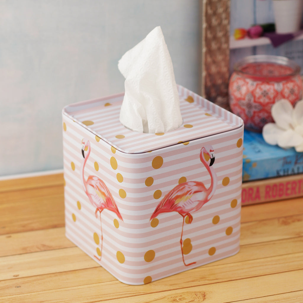 Polka Dot Flamingo Tissue Box - Square