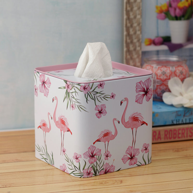 White Flamingo Tissue Box - Square
